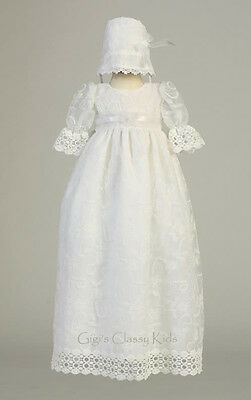 New Baby Girls White Tulle 2 Pc Dress Gown Christening Baptism Bonnet Charlotte