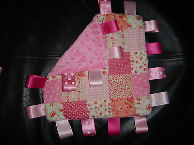 Taggy/Comforter Blanket Pink Patchwork and Bobble Minky, various sizes available