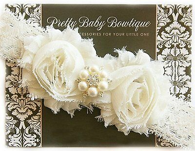 Cream/ Ivory Lace Christening Baptism Blessing Baby Headband Handcrafted in USA