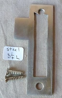 "Mortise bolt lock/latch strike plate steel 3 1/2"" long #G"