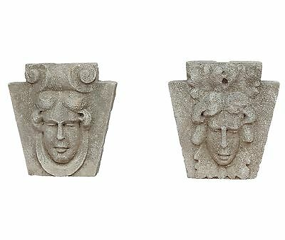 Pair Antique Carved Stone Figural Keystones in Beaux Arts Style c. 1900