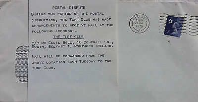 Ireland 1979 Post Office Strike Cover + Belfast Turf Club Mail Delivery Notice