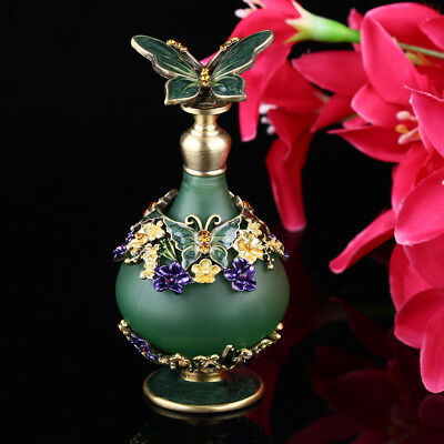 Green Vintage Metal Glass Empty Perfume Bottle Refillable Wedding Decor Gift