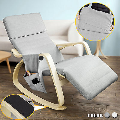 SoBuy® New Relax Rocking Chair with Adjustable Footrest and Side Bag,FST19-HG,UK