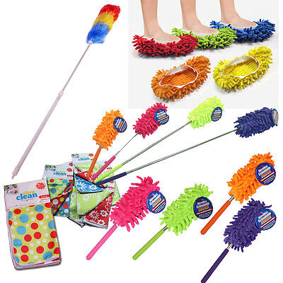 Microfibre Extendable Duster Slippers Cloths Telescopic Feather Mop Dust Cleaner