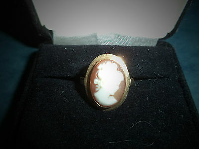 Vintage Cameo Ring 14 K Oval 14mmX10mm Bezel Set Size 6 Ring  Milan Italy 1966