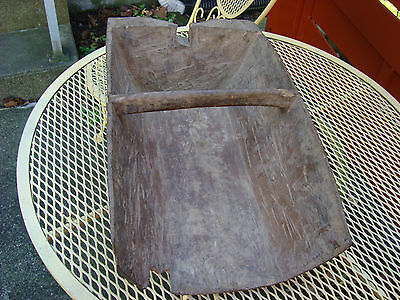 Early Primitive Wood Grain Feed Scoop Wedge Notch Square Nails Make Do Repair