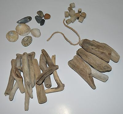 "Driftwood ""Craft Kit"" Small 37 Pieces Heart Beach Shell Craft Pebbles"