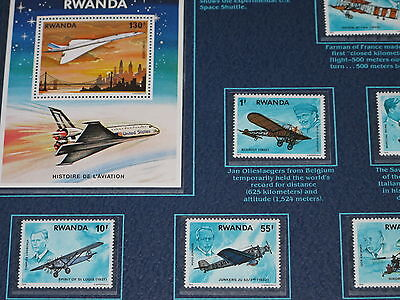 History Of Aviation Rwanda Stamp Collection Mountable Placard B6906