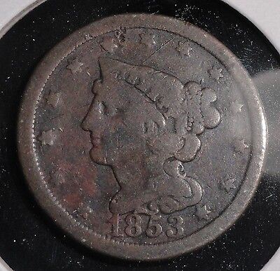1853 Braided Hair Half Cent. Rare Collector Coin For Your Collection Or Set