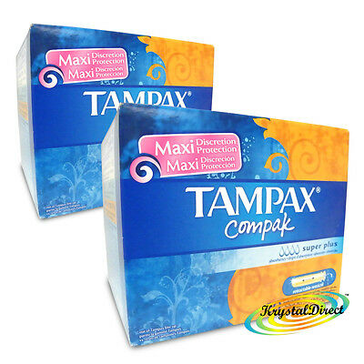 2x Tampax Compak Super Plus 20 Tampons With Applicator