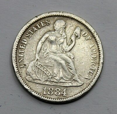 Usa Seated Liberty 1884 Dime Silver Coin Vf+
