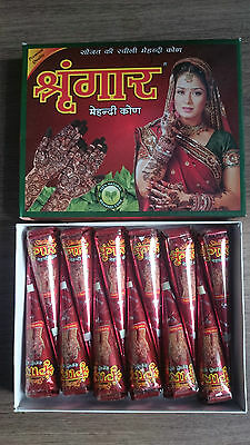 5 Freshly made imported indian henna mehndi temporary tattoo cones 100% natural