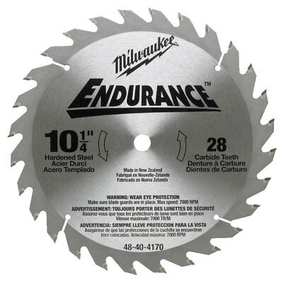 "Milwaukee 10-1/4"" x 28 Tooth Carbide Circular Saw Blade 48-40-4170 New"