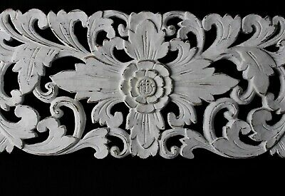 """Balinese Lotus Panel carved wood White washed Bali architectural Art Wall 24"""""""