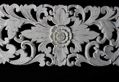 Balinese Lotus Wall art Panel Hand carved wood White washed Bali architectural