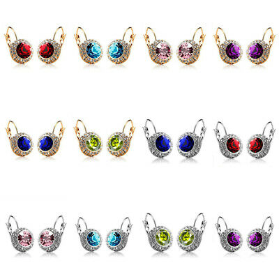 Women Lady Rhinestone Crystal Zircon Round Ear Stud Hoop Drop Earrings Jewelry