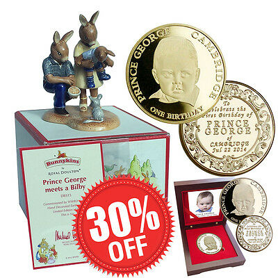 RARE Prince George Kate William Royal Doulton Bunnykins Bilby Coin Limited #330
