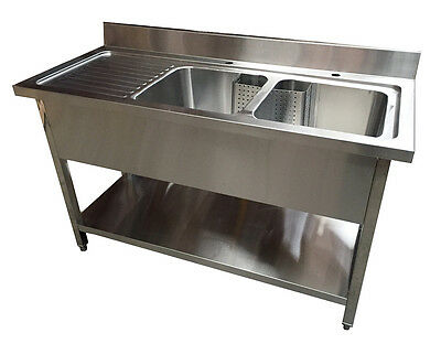 1600mm Commercial Stainless Steel Kitchen Sink with Left Hand Draining Board