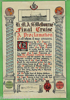 #t102. 1928 Final Cruise Of Hmas Melbourne Equator Crossing Certificate