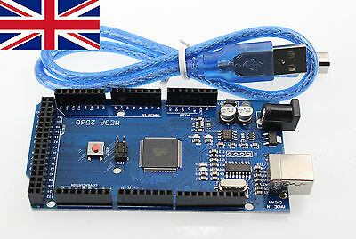 Arduino Compatible ATEMEGA Mega2560-16AU R3 CH340g Module Free USB Cable from UK