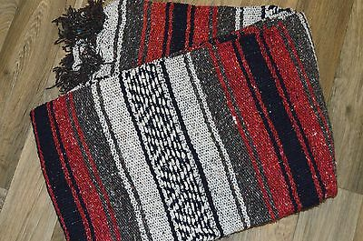 "Mexican Blanket Handwoven Falsa in ""Adobe"" LIGHTWEIGHT Quality Serape Yoga"