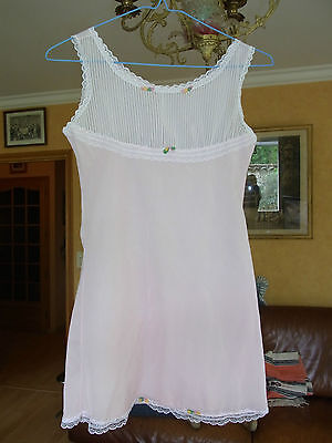 COMBINAISON SOUS ROBE ROSE FILLETTE T 8a VINTAGE 60  PINK GIRL UNDERDRESS 8 yrs