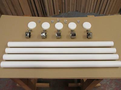 axxys White Primed  Wall Mounted Hand Rail Set With Chrome Brackets & Connectors