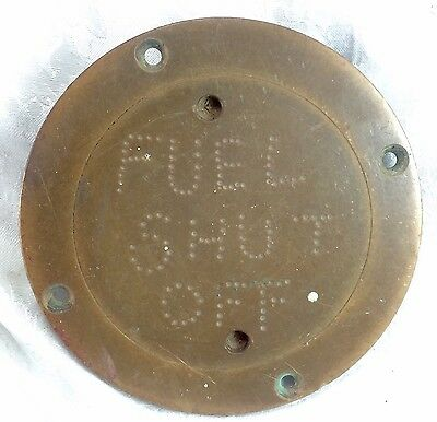 Antique Vintage Fuel Shut Off Hand Chiseled Brass Cover Plate Hardware WC Mark