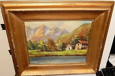 Small Old Original Oil On Canvas Laid On Board Landscape Painting Unsigned