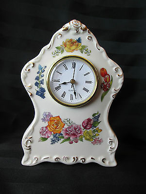Beautiful Shabby Chic Vtg Roses and Creamy White Porcelain Standing Clock