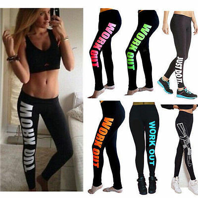 Cotton Blend Letters Printed Exercise Training Sports Wear Tights Apparel
