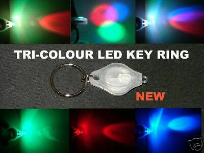 Tri-Colour LED Photon Key Ring Torch FREE Local Postage