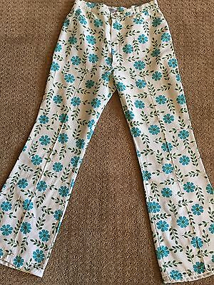 1960/70's Blue Floral Daisy Bell Bottom Pants ALFRED PAQUETTE BYER CA Size 8-10