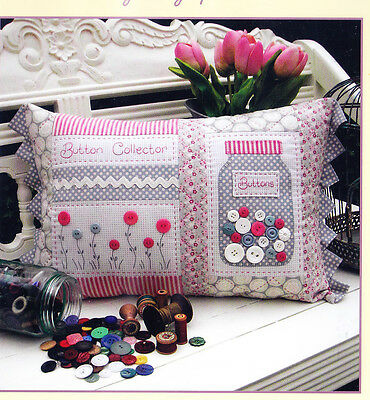 PATTERN - Button Collector  - stitchery & applique cushion PATTERN - Rivendale
