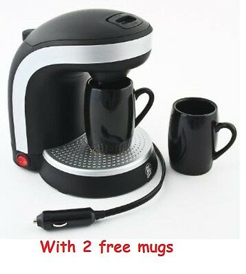12V Electric Coffee Maker With 2 Mugs 0.3Ltr Plug In Portable 135W Car Camping