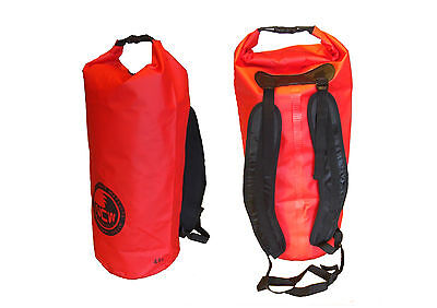 waterproof dry bag in red. Padded rucksack straps. 45 L carry lots of kit dry
