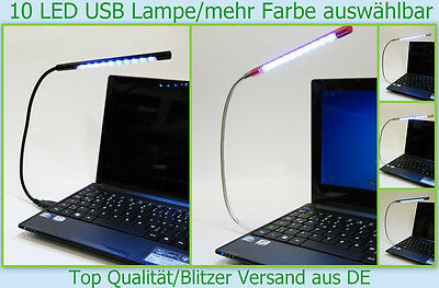 Notebook Laptop 10x LED Lese Lampe USB PC Computer Licht Leuchte m.Schwanenhals