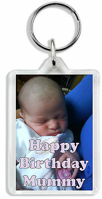 Personalised Photo Keyring Any image &/or text Large size 70 x 45mm Great Gift!