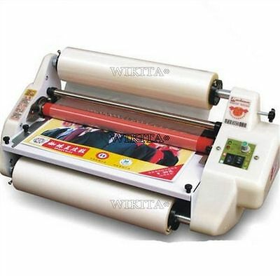 """13"""" Roll Laminator Four Rollers Hot Cold Laminating Machine 220V A3 Paper 330M G"""