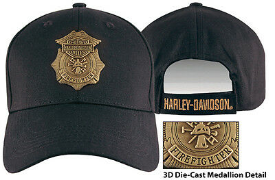 HARLEY DAVIDSON Firefighter Original Medallion Black Cotton Baseball Cap HAT
