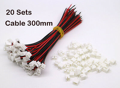20Set Micro JST 2.0 PH 2-Pin Connector Plug Male with Wire Cables 300mm & Female