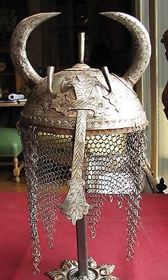 Authentic Antique Turkish Ottoman 19th century Chain mail HELMET  RT 8-11