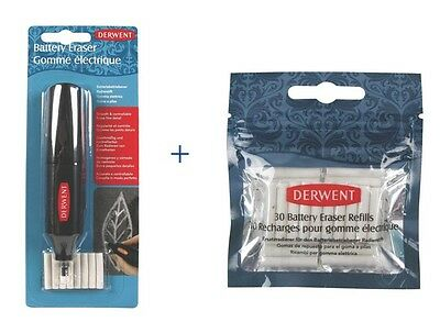 Derwent Battery Operated Eraser + 30 Count Replacement Erasers Set.