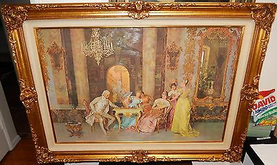 Francesco Beda Italian The Chess Game Huge Color Lithograph