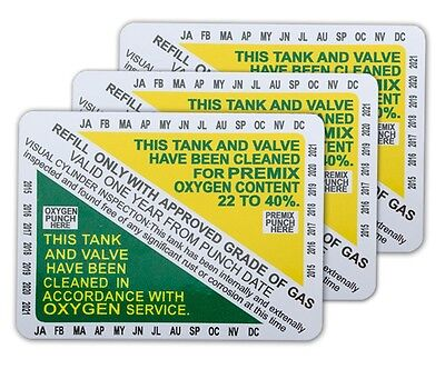Nitrox Clean Tank & Valve Inspection Certification Sticker VIP pack of 3 pcs.