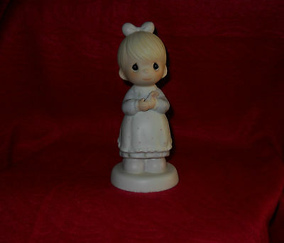 "Precious Moments Porcelain Girl Figurine ""The Good Lord Always Delivers"" 1989"