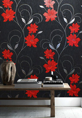 Flower Wallpaper Floral Textured Glitter Effect Metallic Silver Black Grey Red