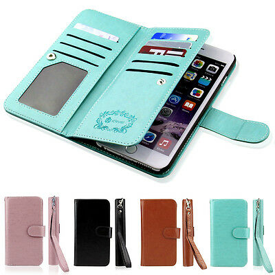 Luxury Leather 9 Credit Card Slot Holder Flip Wallet Case for Apple iPhone 7/6s