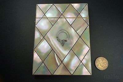 ANTIQUE CHINESE MOTHER of PEARL CARD CASE w/ BUCKLE CARTOUCHE c1800s